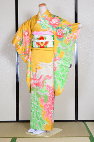 Long-sleeved kimono 6 items set / Furisode / FK#938