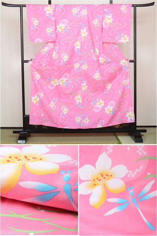 Girls yukata and  obi belt set / GY #06 Pink Dragonfly (13-14)