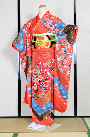 Long-sleeved kimono 6 items set / Furisode / FK#1061