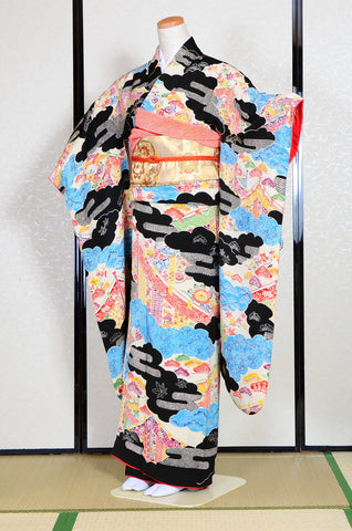 Long-sleeved kimono 6 items set / Furisode / FK#1078