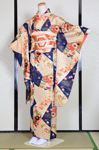 Long-sleeved kimono 6 items set / Furisode / FK#741