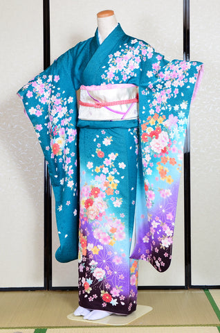 Long-sleeved kimono 6 items set / Furisode / FK#1038