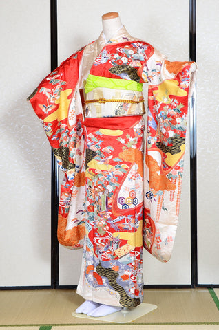 Long-sleeved kimono 6 items set / Furisode / FK#1191
