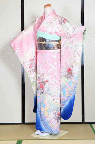 Long-sleeved kimono 6 items set / Furisode / FK#1132