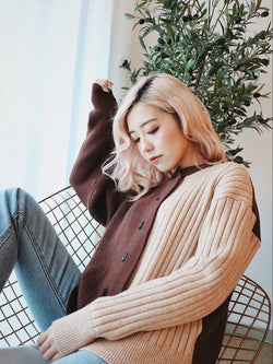 Two Tone Mixed Knit Coat