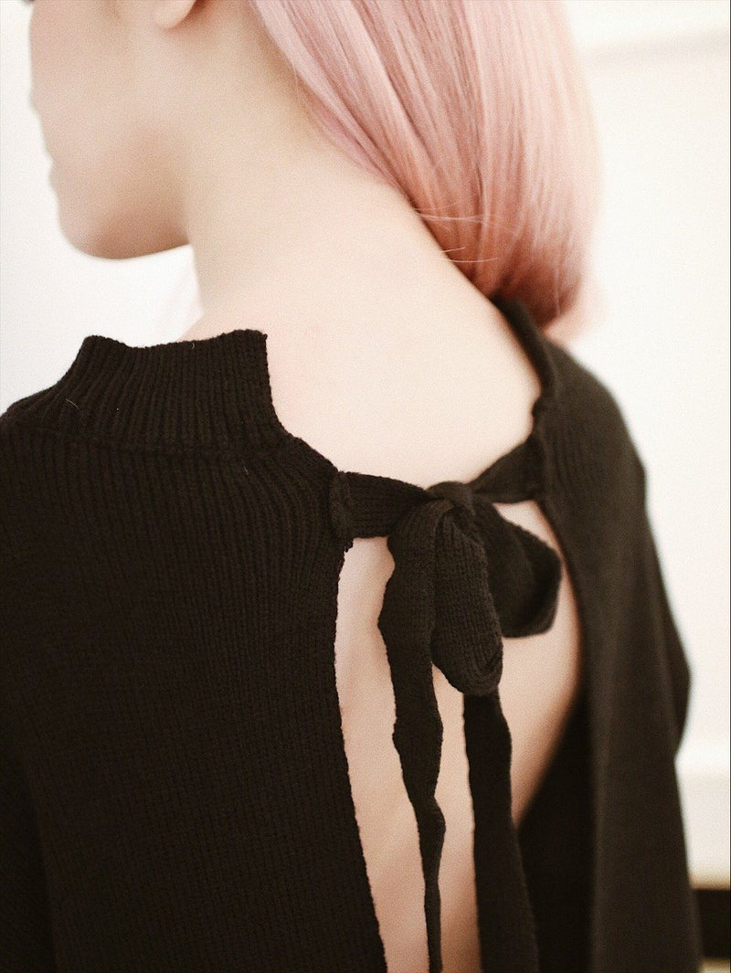 Black Open Back Knot Detail Knit Sweater
