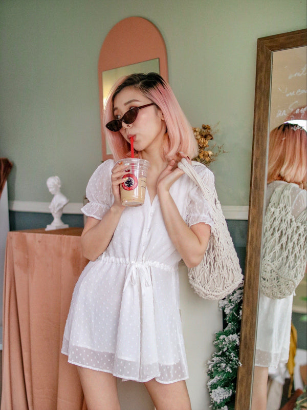 Boho Romper with Polka Dot Detail See Through