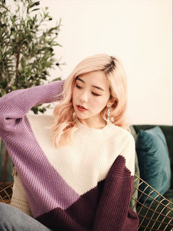 Purple Color Block Sweater