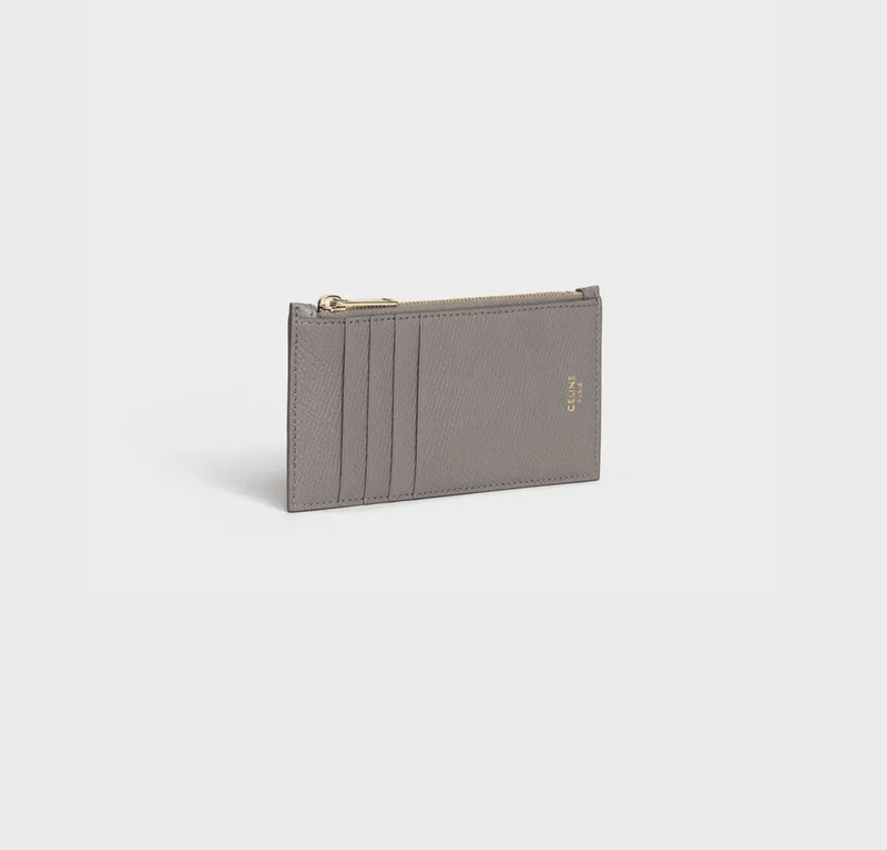Celine Zipped Compact Card Holder In Grained Calfskin in Pebble