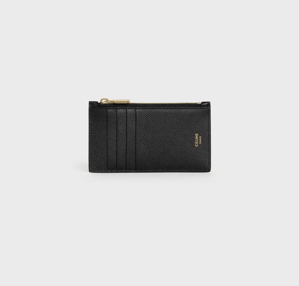 Celine Zipped Compact Card Holder In Grained Calfskin in Black