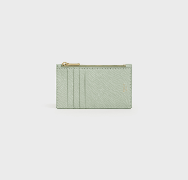 Celine Zipped Compact Card Holder In Grained Calfskin in Vert D'eau
