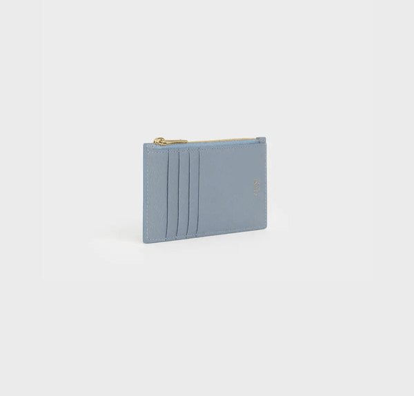 Celine Zipped Compact Card Holder In Grained Calfskin in Storm