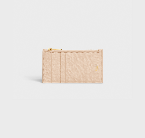 Celine Zipped Compact Card Holder In Grained Calfskin in Nude