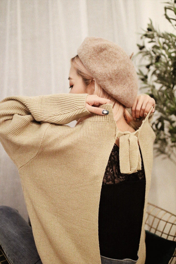 Beige Open Back Knot Detail Knit Sweater