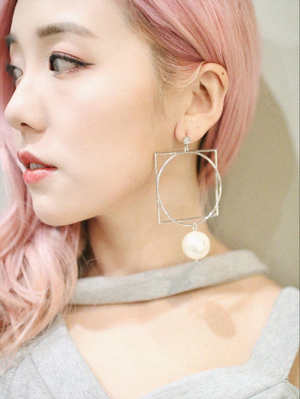 Sliver Shaped Mismatched Diamond X Pearl Earrings
