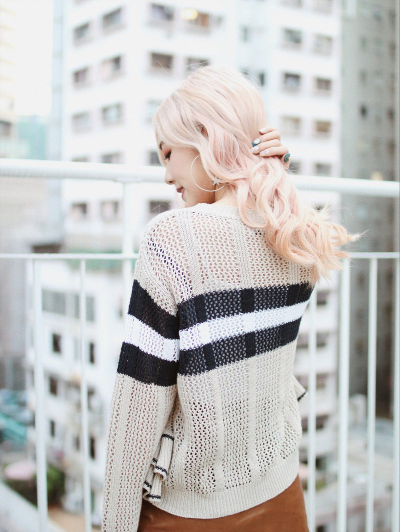 Stripped Knit with Ruffle Detail