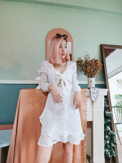 Self Tie Eyelet Embroidery Dress