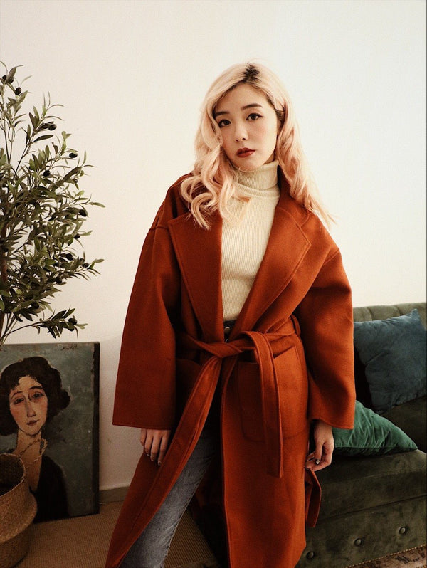 Self Tie Burnt Orange Long Coat