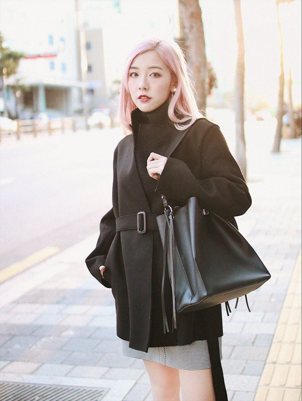 Self-Tie Wool Blend Coat in Black