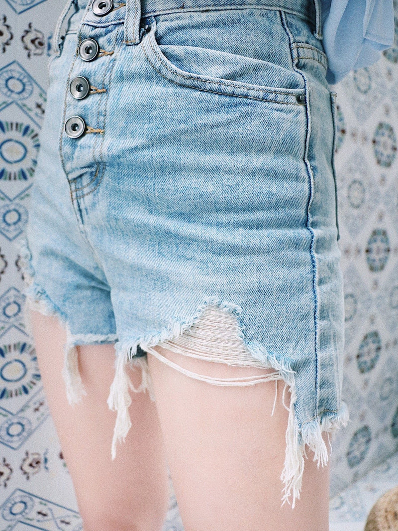 High Rise Shredded Hem Denim Shorts - asuni,