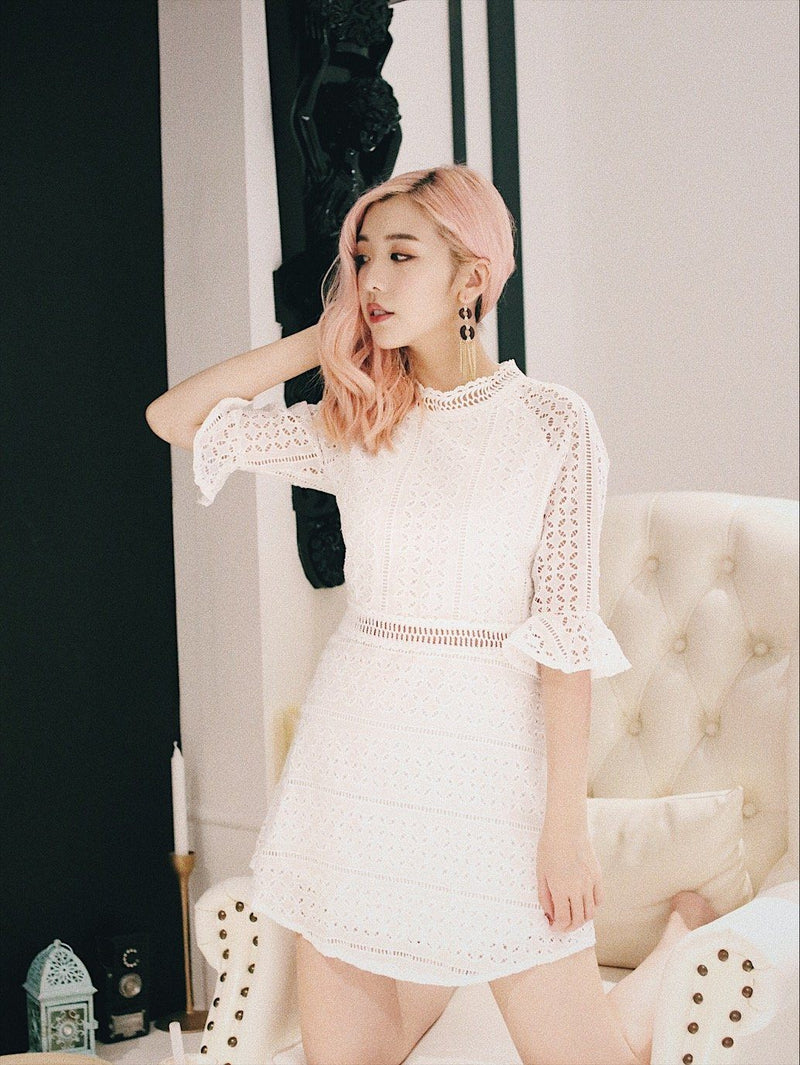 Ruffle Trim Eyelet Embroidered Dress