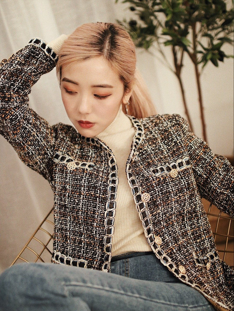 Tie Neck Whipstitch Detail Tweed Coat