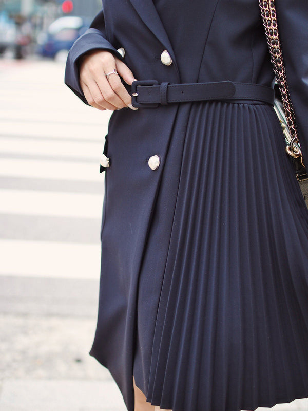 Mismatched Long Coat in Dark Blue