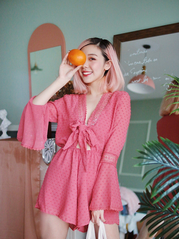 V Neck Self Tie Polka Dot Romper in Pink