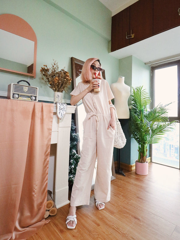 Beige Button Front Self Tie Jumpsuit