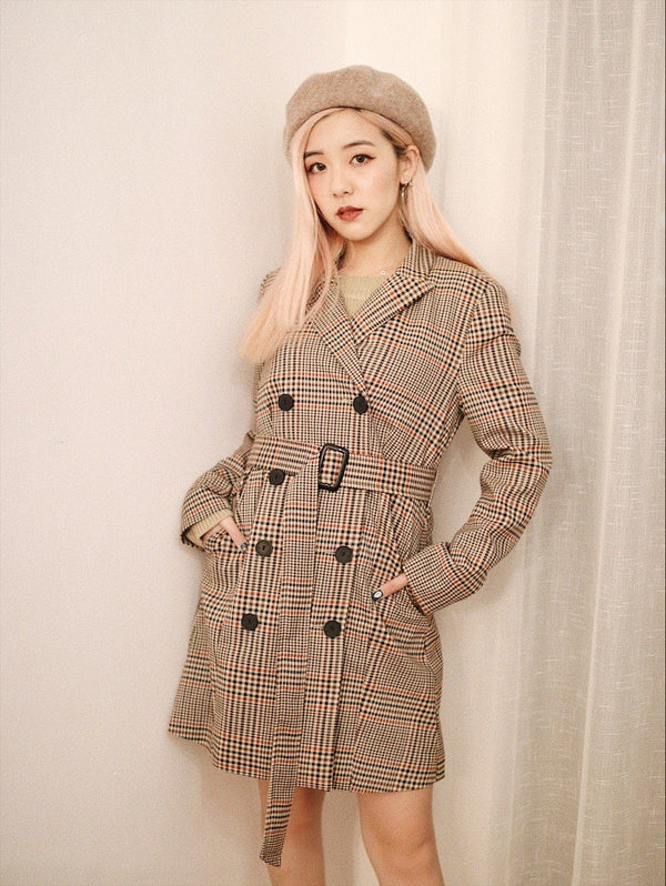 Button Up Self Belted Plaid Coat