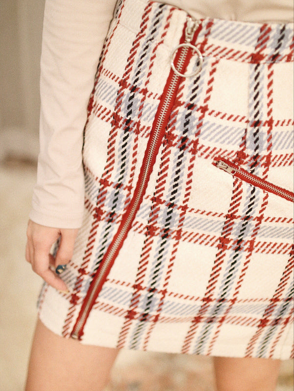 Gingham Print Pocket Detail Zip-up Skirt