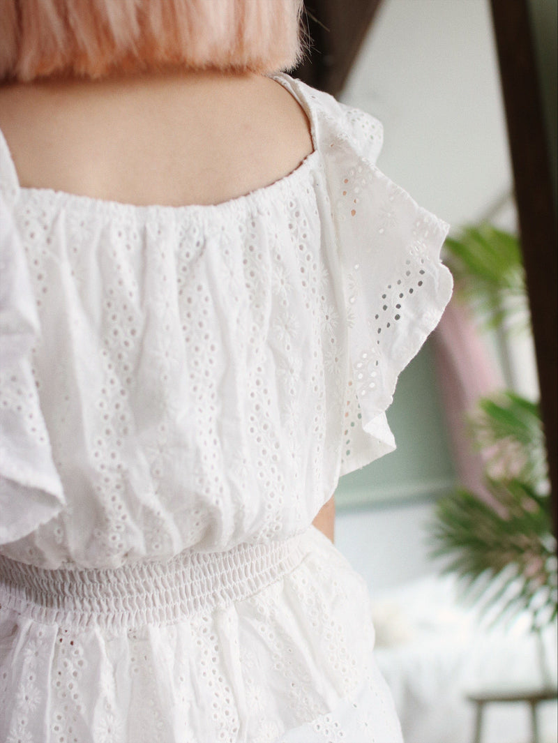 White Eyelet Set with Ruffle & Self-Tie Detail