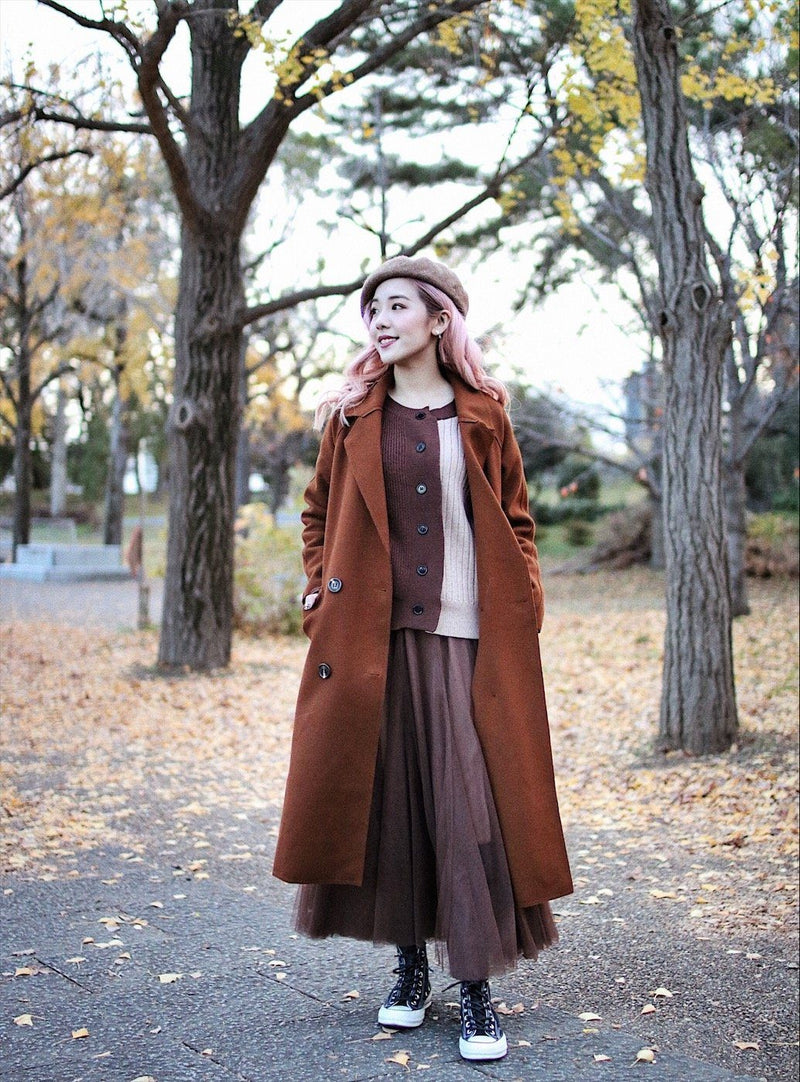 Self Tie Button Front Solid Long Coat
