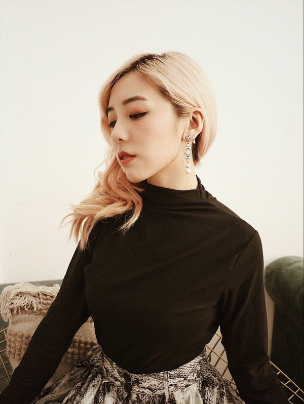 Black Turtleneck Slim Fit Top