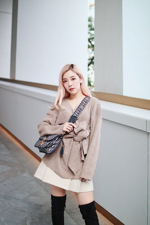Beige Self Tie Front Open-Knit Sweater