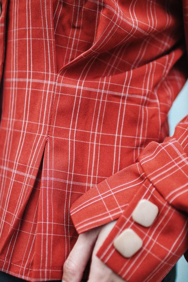 Red Button Front Gingham Blouse