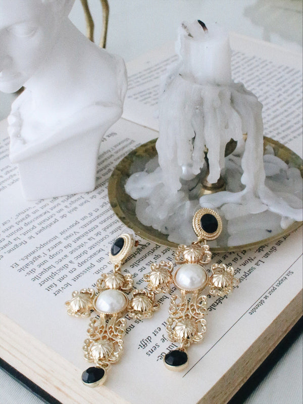 Hollow Cross Pearl Drop Earrings - asuni,