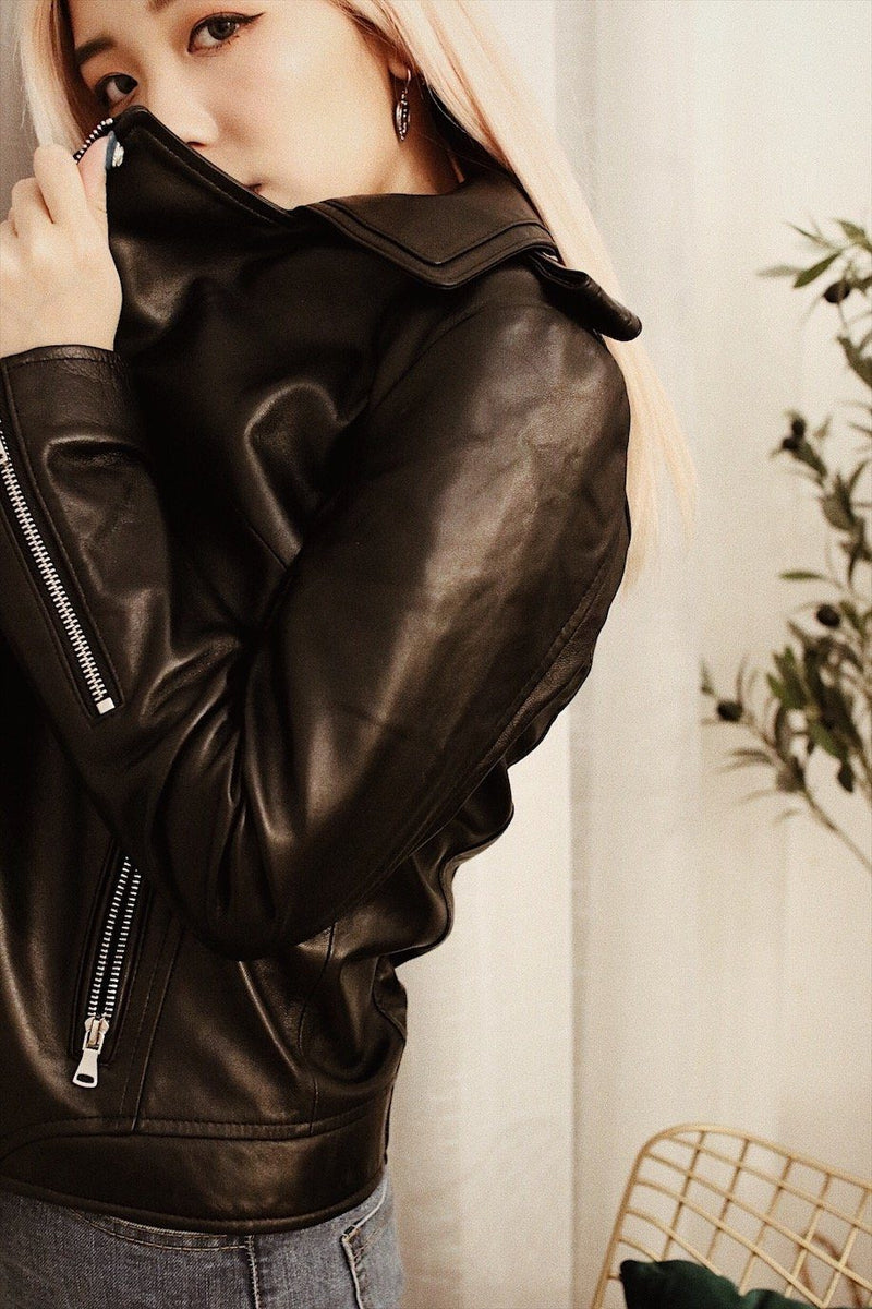 asuni, Leather biker jacket