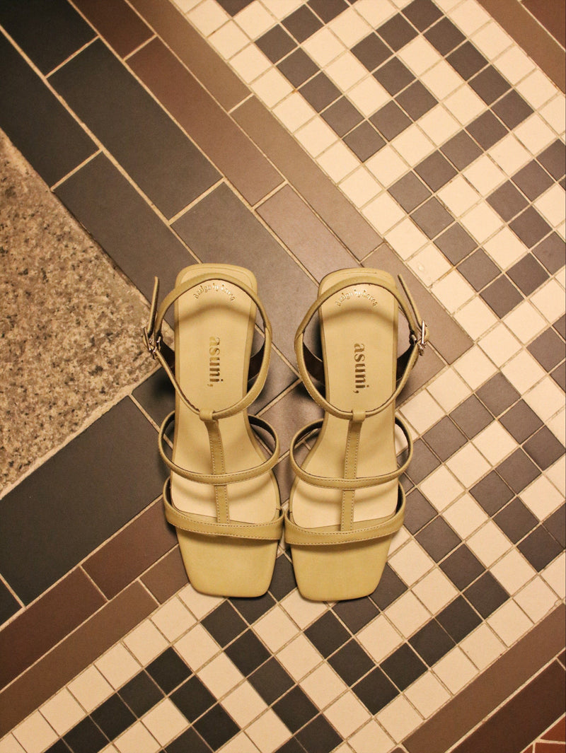 <現貨> asuni, X Korea Design Sandals Style 2 in Yellow x Matcha Green