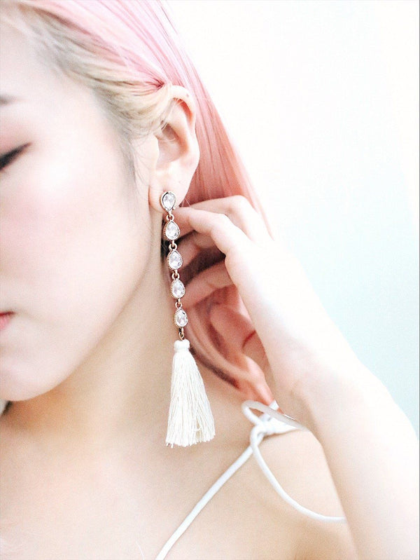 Tassel Detail With Diamond Earrings