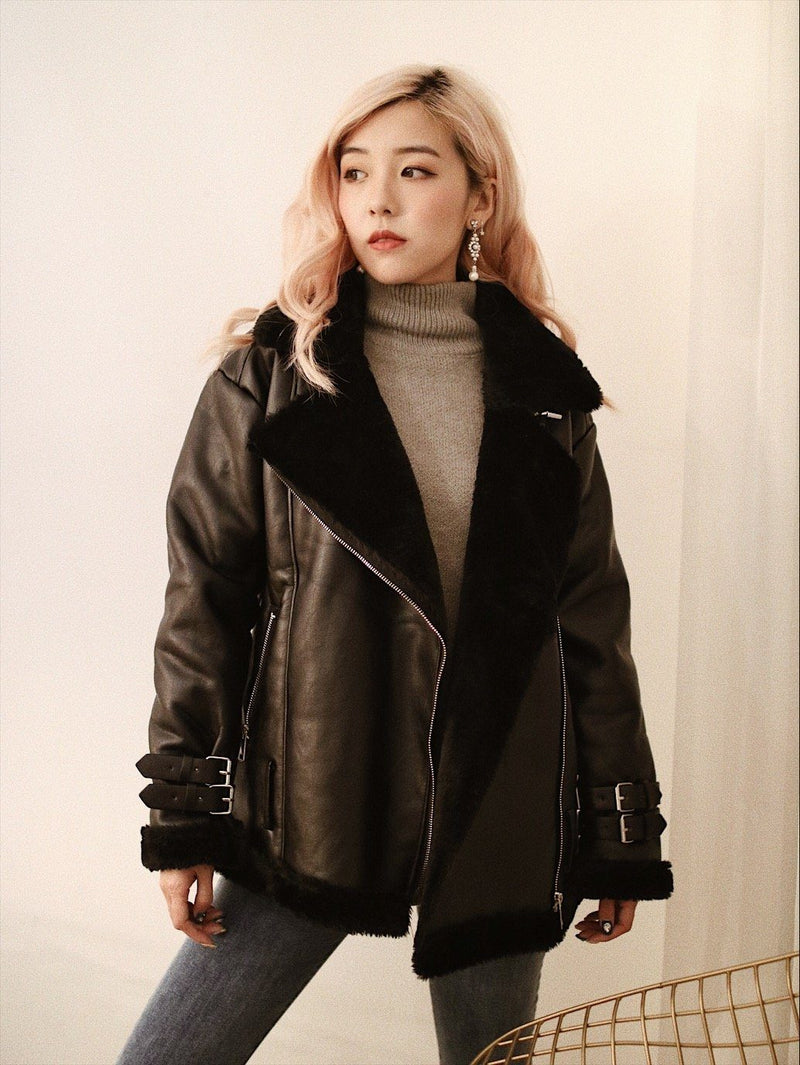 Faux Fur Lined PU Jacket