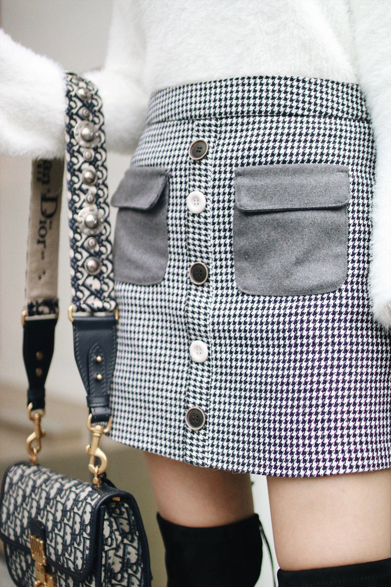 Pocket Front Skirt with Mismatched Button Details