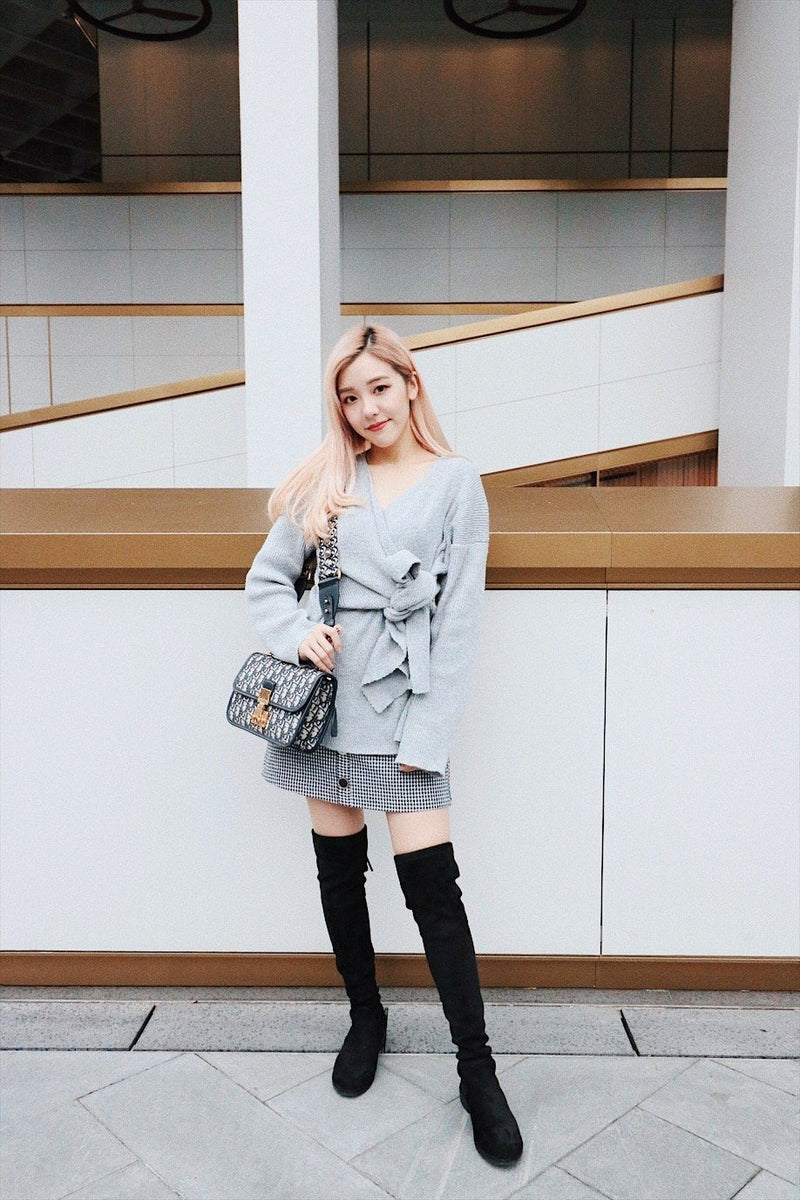 Grey Self Tie Front Open-Knit Sweater