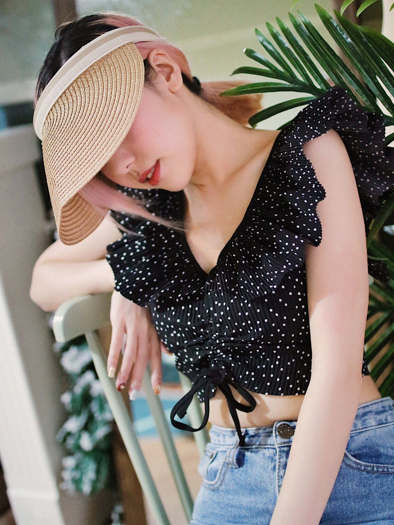 Polka Dot Ruffle Trim Drawstring Front Crop Top