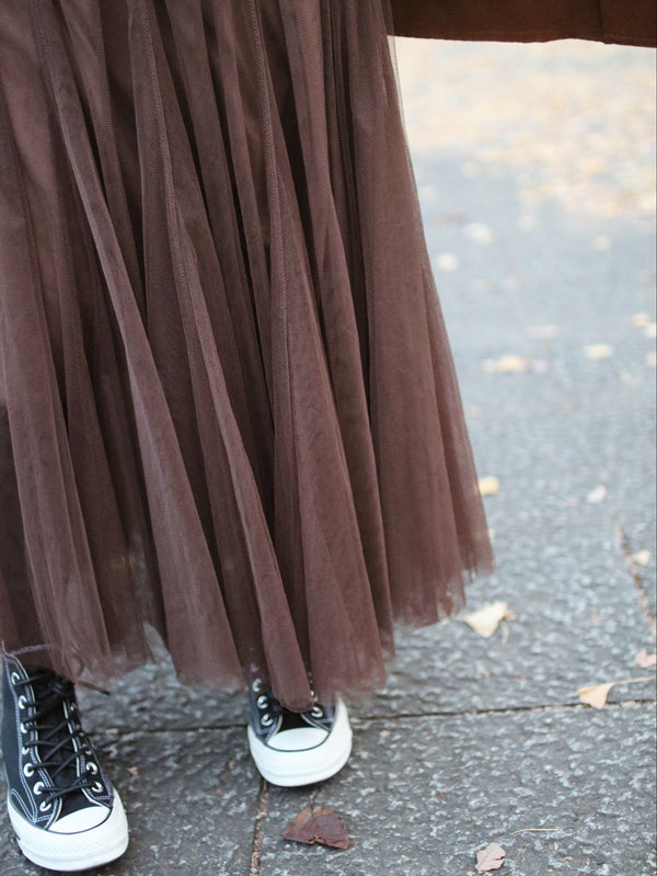 Brown Mesh Pleated Elastic Waist Skirt