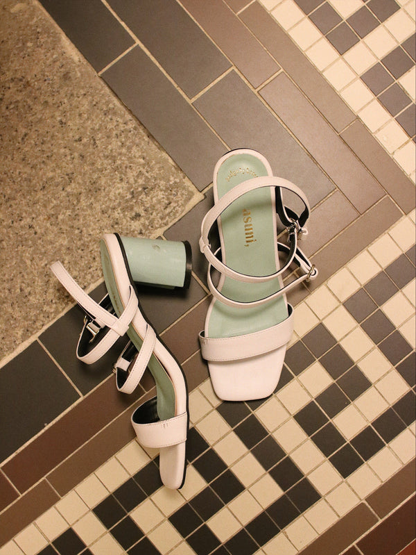 asuni, X Korea Design Sandals Style 3 in White & Tiffany Blue