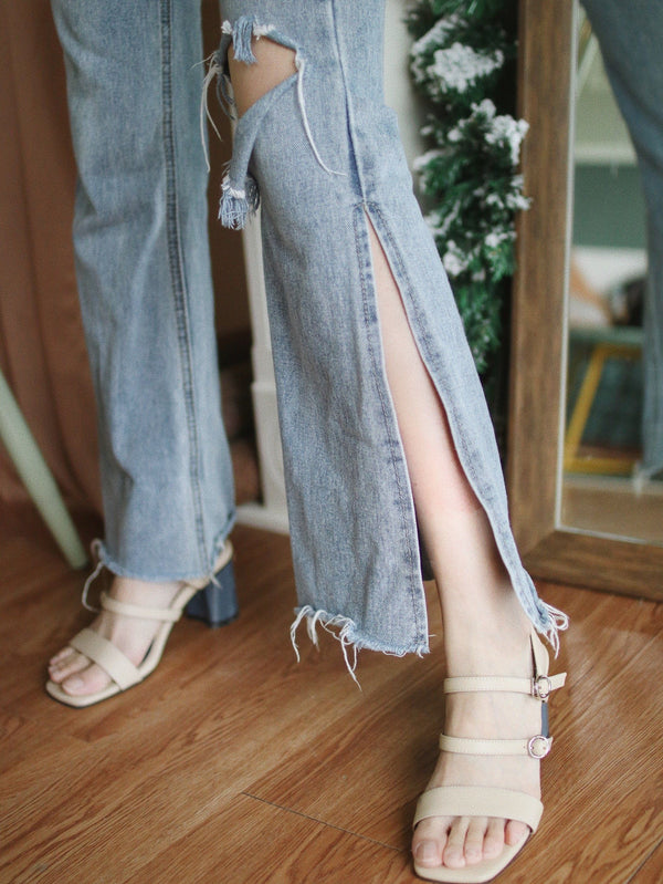 High Waist Flare Leg Jeans with Split Detail