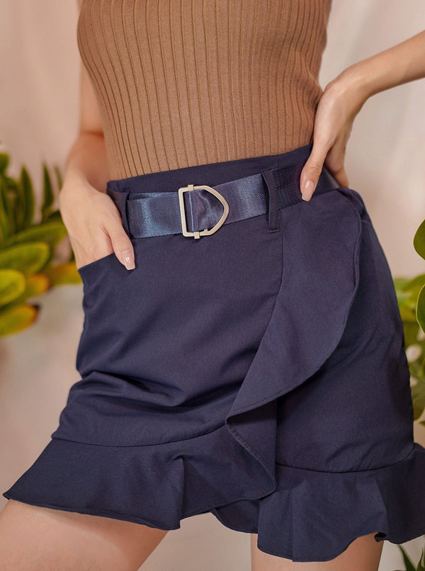 Feelin' Good Ruffle Skirt With Belt In Night Blue