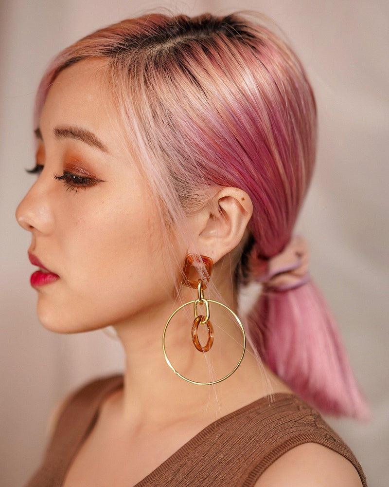 Amber With Gold Circle Earring