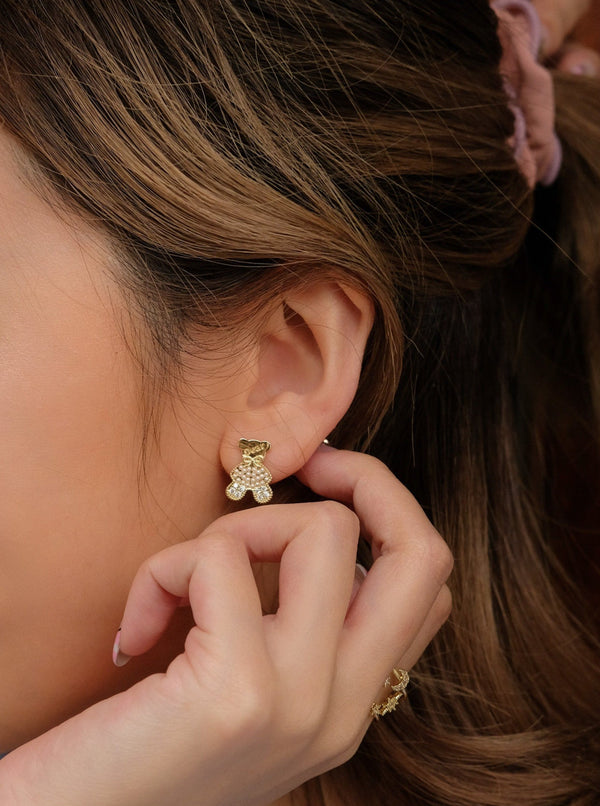 Bear With Pearl Stud Earrings In Gold